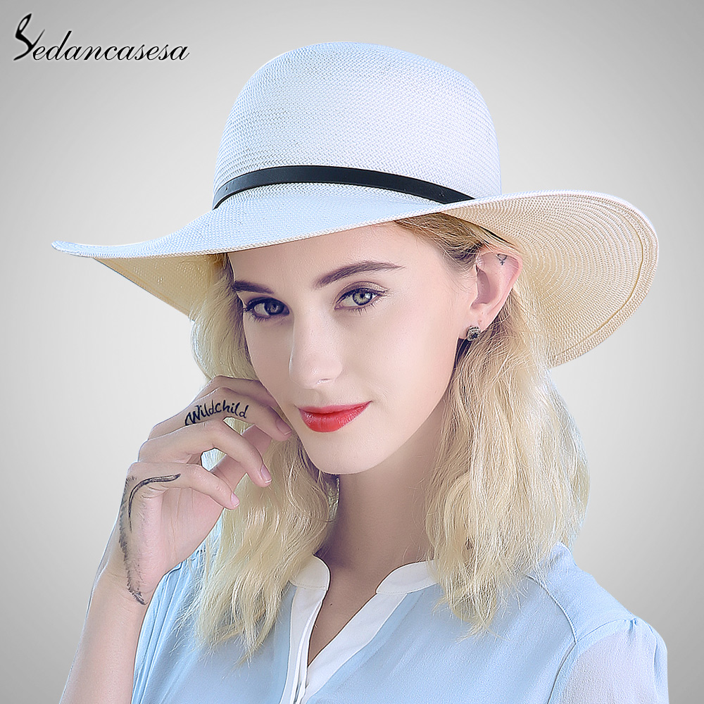 Sedancasesa white sun hats for women panama straw hat summer Large brim  floppy beach hat wide brim sun protect holiday SW012519 -in Sun Hats from  Apparel ... 6c79a88b8831