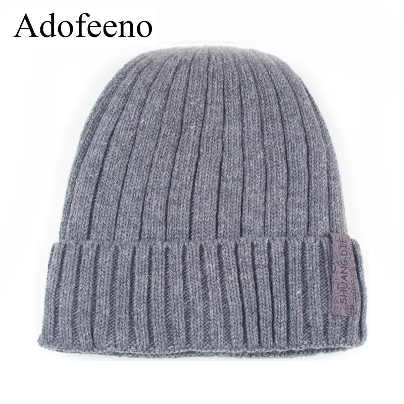 Adofeeno New Winter Hats For Men Beanie Hat with Velvet Warm Hat Men Fashion Autumn Knitted Cap Gorro Bone Bonnet free shipping 1pcs 2013 new men and women fashion knitted cap holes do old style with velvet autumn winter warm hat wholesale