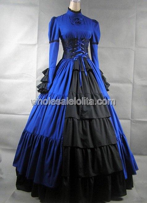 Синий и черный одежда с длинным рукавом готический, викторианской эпохи платье - Цвет: black and blue