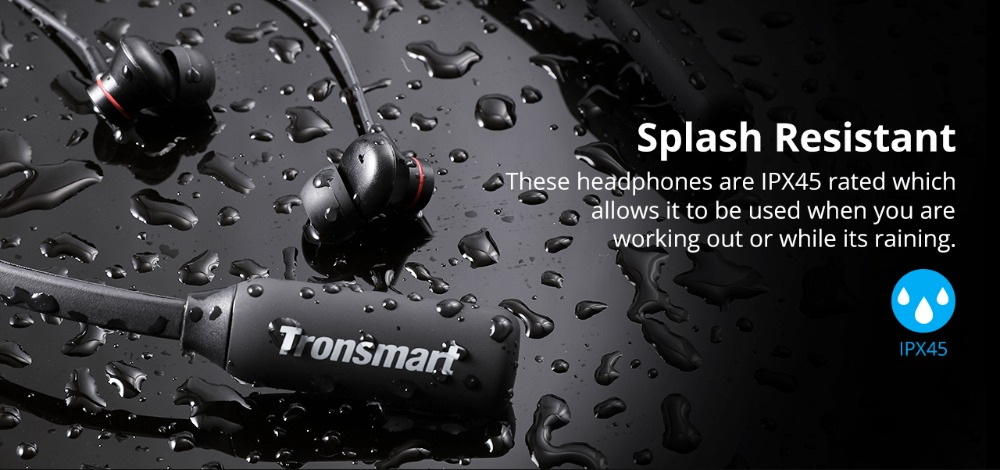 Tronsmart Encore S2 Plus Bluetooth Earphones IPX45 Headphones Waterproof Earphones Wireless Bluetooth Headset with Neckband 02