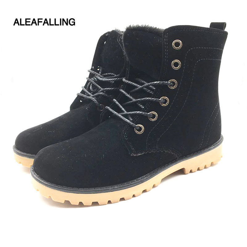 Aleafalling Women Boots Winter Snow Warm Casual Shoes Women Boots Leather Plush Fur Fashion Unisex Lovers Boots Size 35-44 Bo01 casual snow boots women fashion waterproof shoes female 35 45 fur 2018 winter leather high keep warm plush free shipping quality