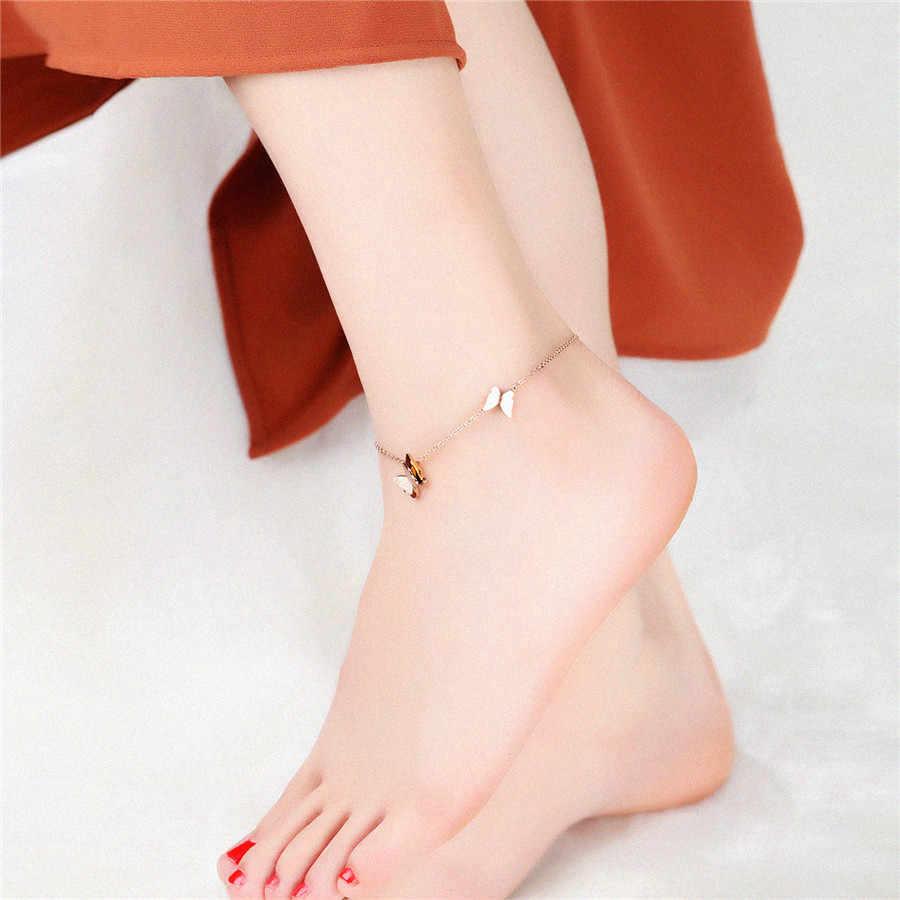 """XQNI Летний Новый Стиль темперамент изысканный маленькая бабочка титановая сталь ножной браслет """"о"""" формы розовое золото ноги украшенные ювелирные изделия"""