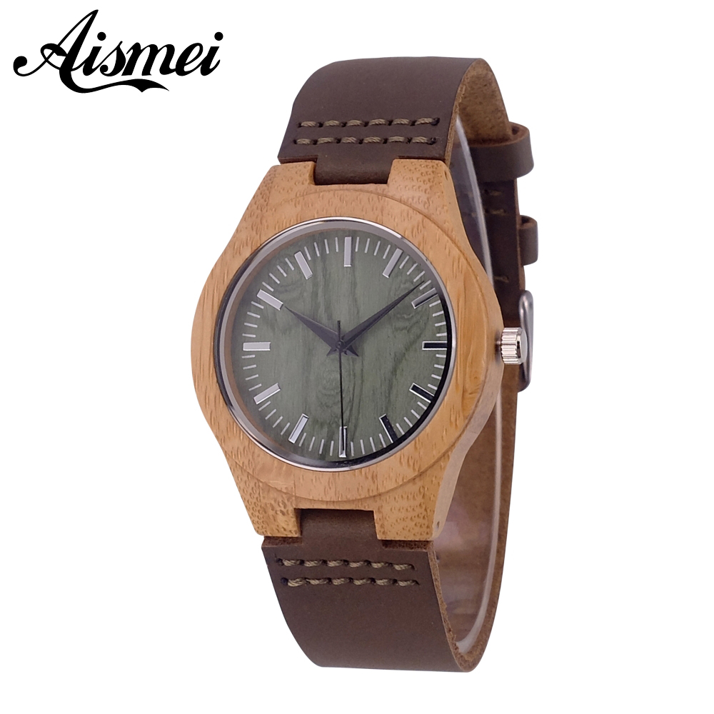 2018 Aismei New Natural Women Wooden watches Fashion Designer Green Face Genuine Leather ...