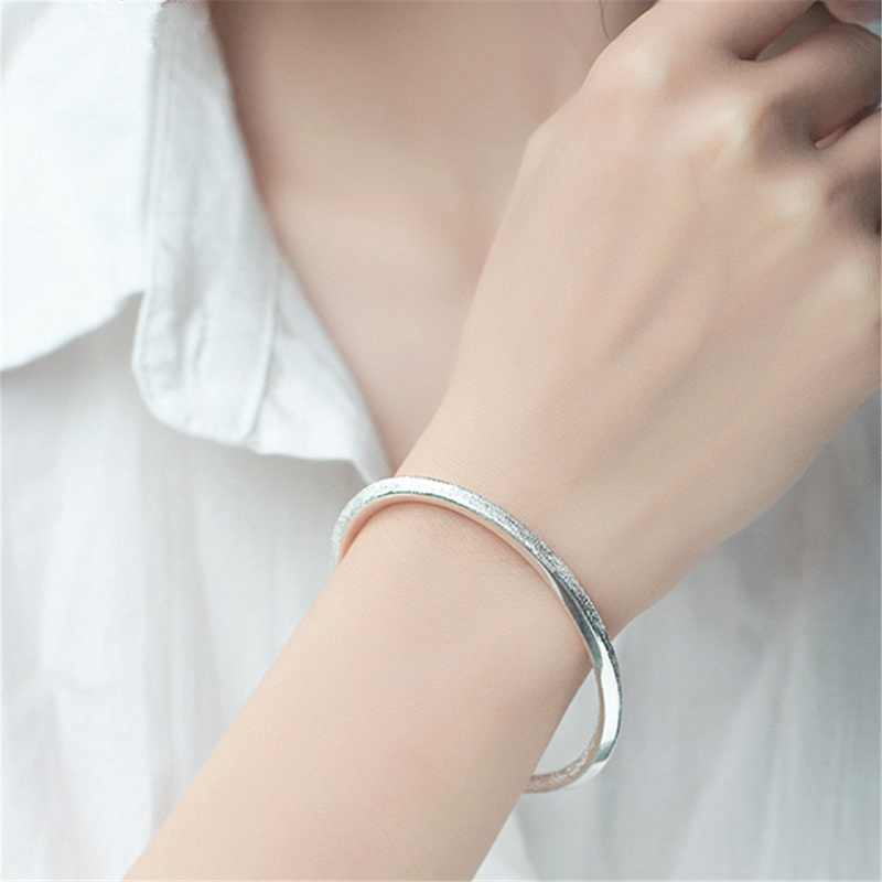 c5f8450d567 ... Simple Delicate 999 Sterling Silver Filled Dull Polish Twisted Cuff  Bangle Bracelets Women Dainty Jewelry