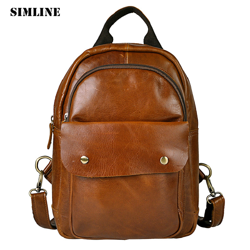 SIMLINE Vintage Casual Genuine Cow Leather Cowhide Men Mens Women Backpack Shoulder Crossbody Bag Bags Travel Backpacks For Man men s genuine leather double shoulder backpacks real cowhide leather backpack for men brand bags man multi fuctional bag