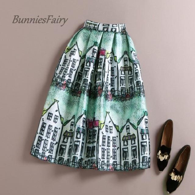 BunniesFairy Fresh Mori Girl Style Female Hand Painting House Print Women High Waist Midi Skirt Knee Length Saia Cintura Alta