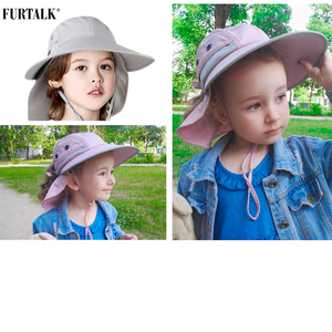 Image 5 - FURTALK dzieci kapelusz na lato dziewczyny kapelusz przeciwsłoneczny dla chłopców z klapą na szyję ochrona UV Safari kapelusz dziecko dziecko lato czapka podróżna 2 12 lat