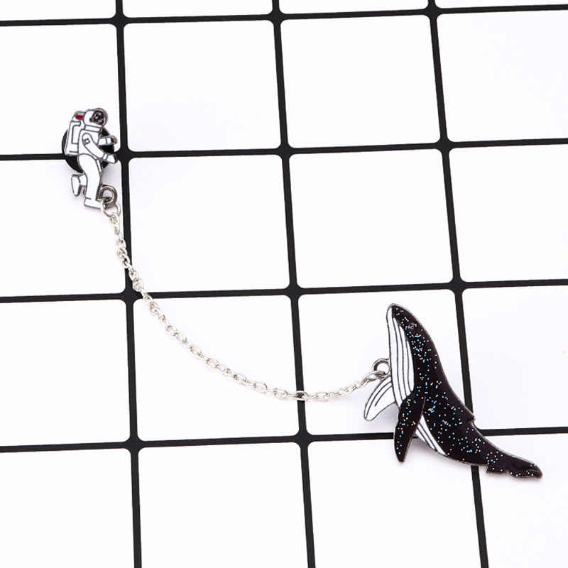 Astronaut and whales Cartoon brooches Pins Fish Lapel pins Badges Women fashion