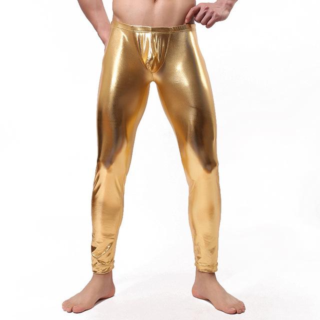 Homens Sexy Bronzing Brilhante Folha De Ouro Imitação de Couro Moldar Calças Brilhantes Calças Passarela Show No Palco bar Gay bodysuit para gay
