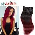 6A Clipe Indiano Em Extensões Do Cabelo 100g Indiano Virgem Do Cabelo Humano Em Linha Reta Para As Mulheres Negras de Cabelo Omber Extensões de cabelo Rosa cabelo