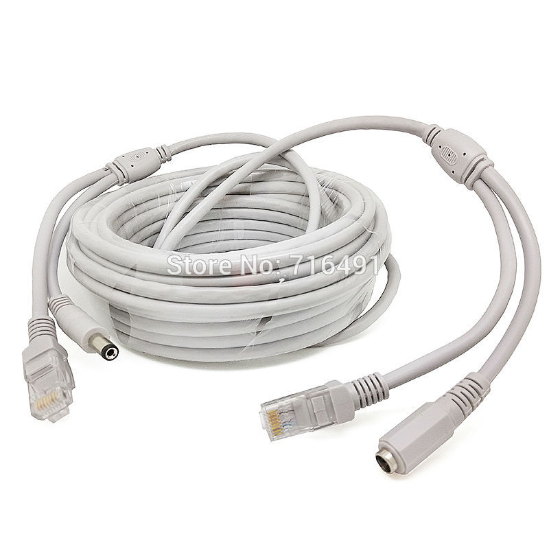 30M/98ft RJ45 Cable + DC 12V Power CAT5/CAT-5e CCTV Extension CCTV network Ethernet Cable For IP Camera NVR System