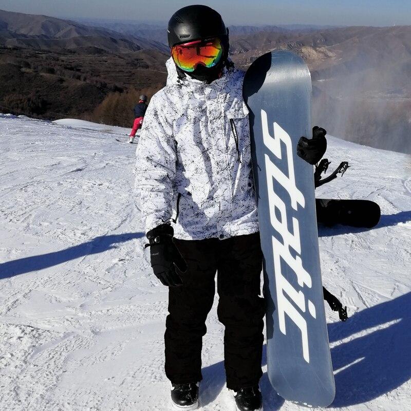Nuevo grueso cálido traje de esquí hombres mujeres invierno a prueba de viento guantes de esquí impermeable Snowboard chaqueta pantalones traje masculino de talla grande 3XL - 6