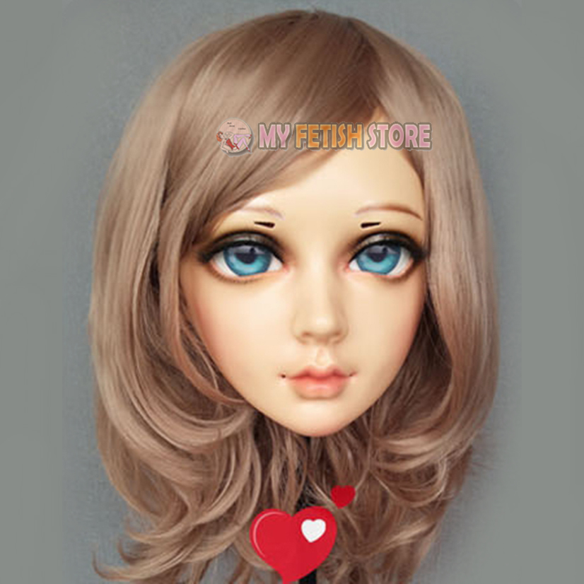 (xian)female Sweet Girl Resin Half Head Kigurumi Bjd Eyes Crossdress Cosplay Japanese Anime Role Lolita Mask With Eyes And Wig