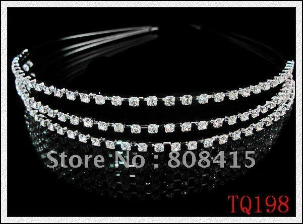 New Elegant Crystal Rhinestones Crown Head band wedding bride Hair Clips Tiara #TQ198