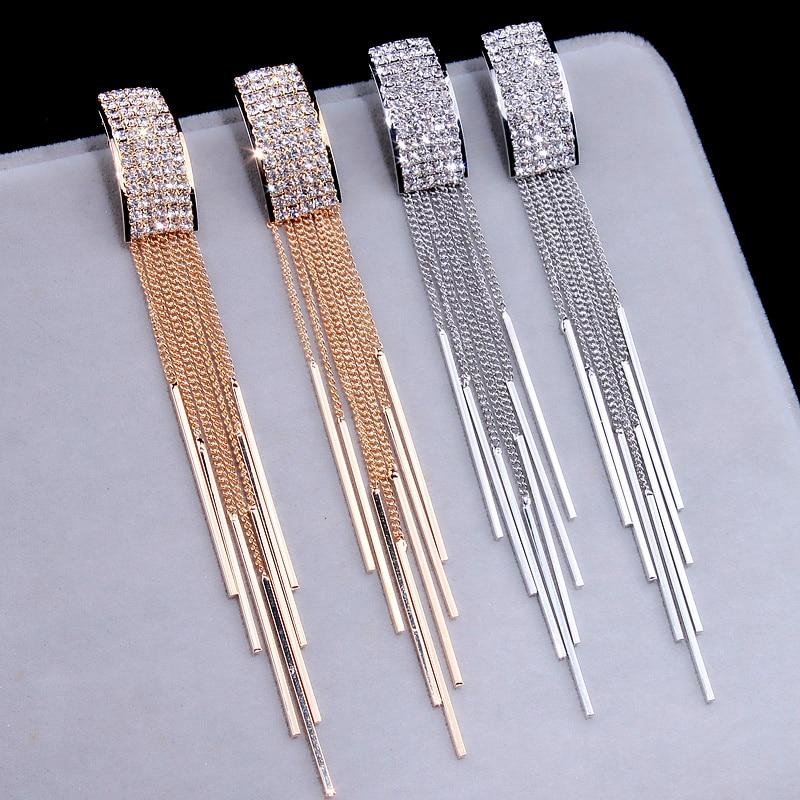 Uus kuldne värv pikk kristalli varrukatega kõrvarõngad naiste - Mood ehteid - Foto 2