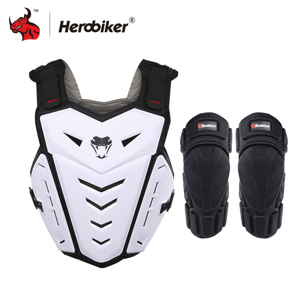 HEROBIKER Motorcycle Armor Vest Motorcycle Riding Chest Armor Motocross Off Road Racing Vest + Motorcycle Knee Pads