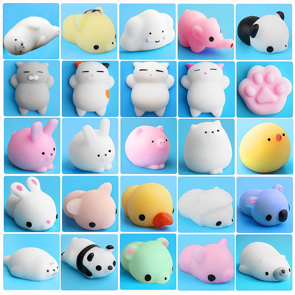 25PCS Set Cute Mochi Squishy Cat Squeeze Healing Fun Kids Kawaii Toy Stress Reliever Decor car house show window cafe Toys