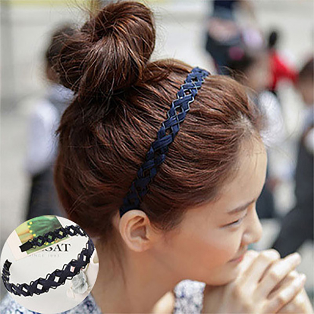 bd7b678f6a7d1 Braid Cloth Flower Headbands Simple Elegant Hairbands Women Girl Hair  Accessories