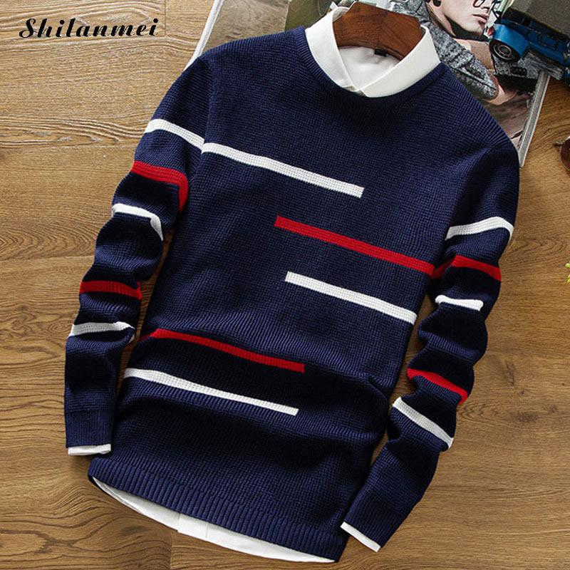 2018 Autumn Casual Long Sleeve Mixed Fabric Slim Men Knitted Sweaters Round Neck Fashion Pullovers Streetwear Pull Homme Numerous In Variety