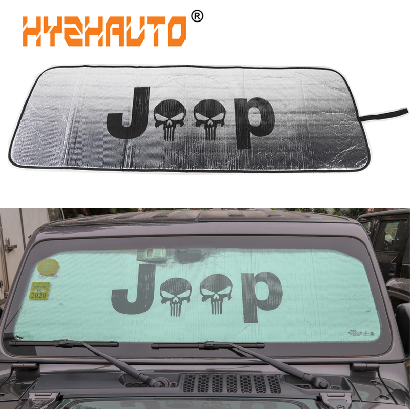 HYZHAUTO Auto Front Windshield SunShade for Jeep Wrangler TJ JK JL 1997-2018+ Car Visor Window Solar UV Rays Protector Cover