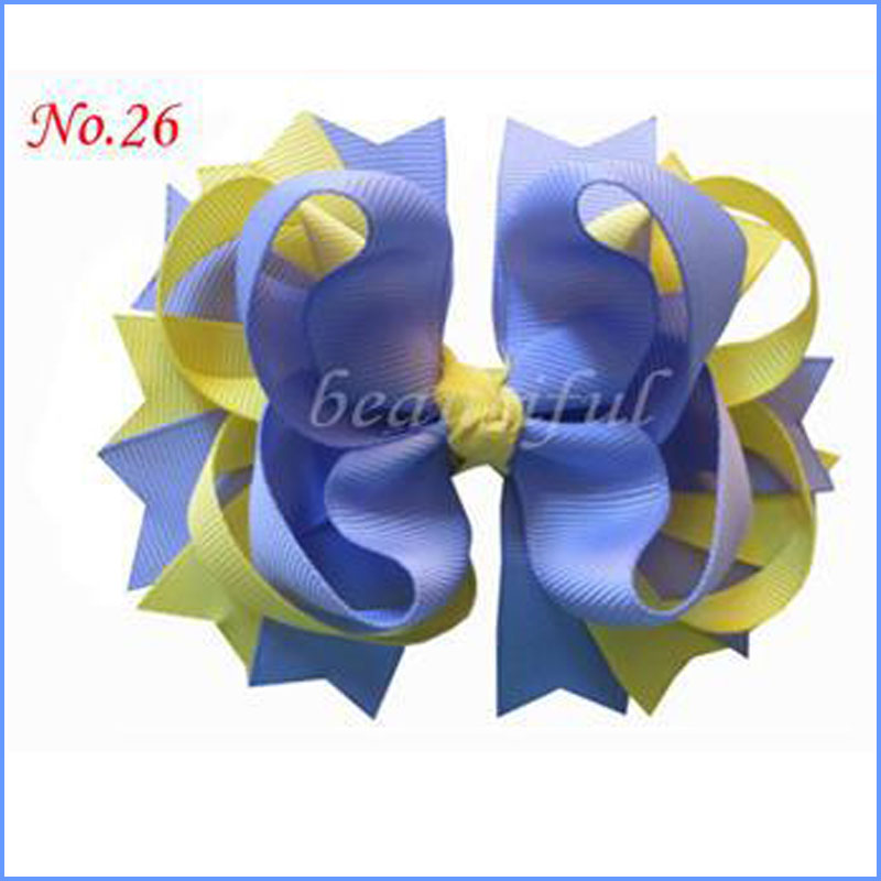 """100 BLESSING Happy Girl 4.5/"""" Rainbow Cheer Hair Accessories Bow Clip 30 No."""