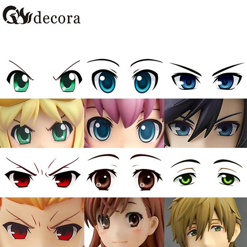 CCINEE Water Stickers Eyes Used For DIY Doll Accessories Cartoon 1PCs Toy Eyes Cute Anime Figurine Dolls Eye ccinee self adhesive toy eyes 5 6 7 8 10mm total mixed googly eye teddy bear plastic doll eye scrapbook for doll toy accessories