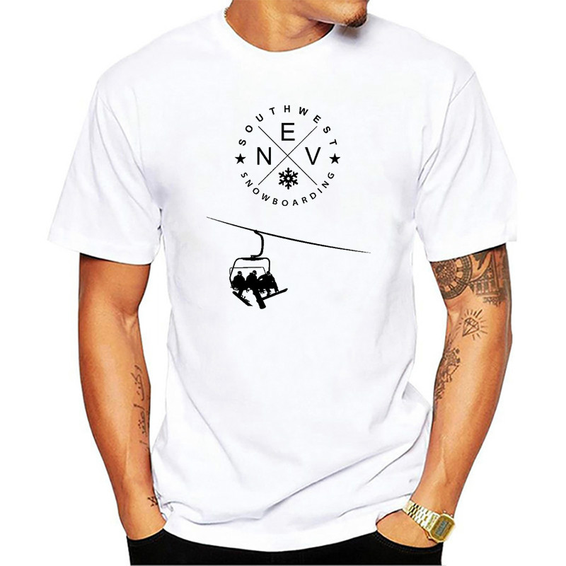 New Casual White Short Sleeve SOUTHWEST Snowboard T-Shirt for men