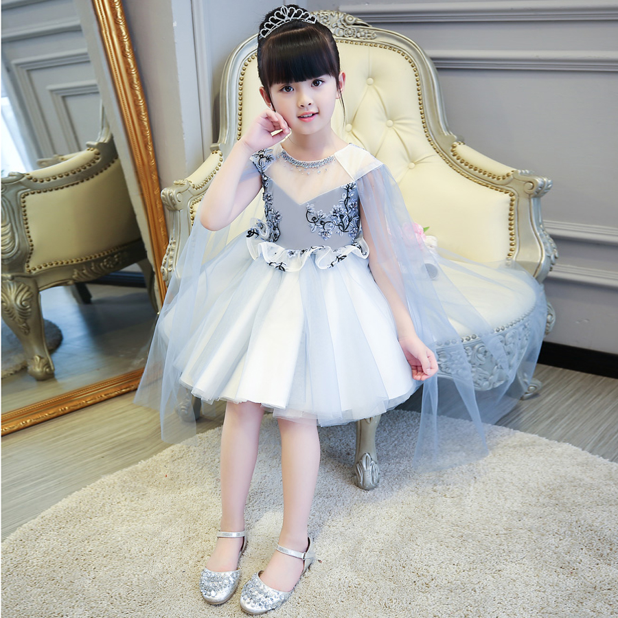 High Quality Sliver Girls Children Princess Dress For Party Kids Teenagers Birthday Wedding Ball Gown Dress Costume dress wear 2017 new high quality girls babies white color lace princess party dress wedding birthday costume ball gown dress for children