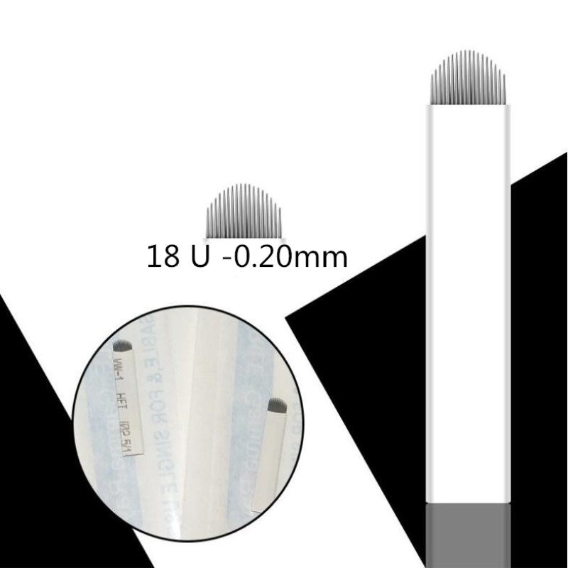 1000pcs 0.20mm 18 Pin U Shape Tattoo Needles Permanent Makeup Eyebrow Embroidery Blade For 3D Microblading Manual Tattoo Pen
