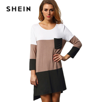 SHEIN Summer Color Block Dress With Pocket Woman Round Neck 3 4 Sleeve High Low Dress