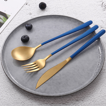 JueQi Tableware Set Cutlery Stainless Steel 304 Utensils Kitchen Dinnerware include Knife Fork TeaSpoons Camping Tableware Bag 3
