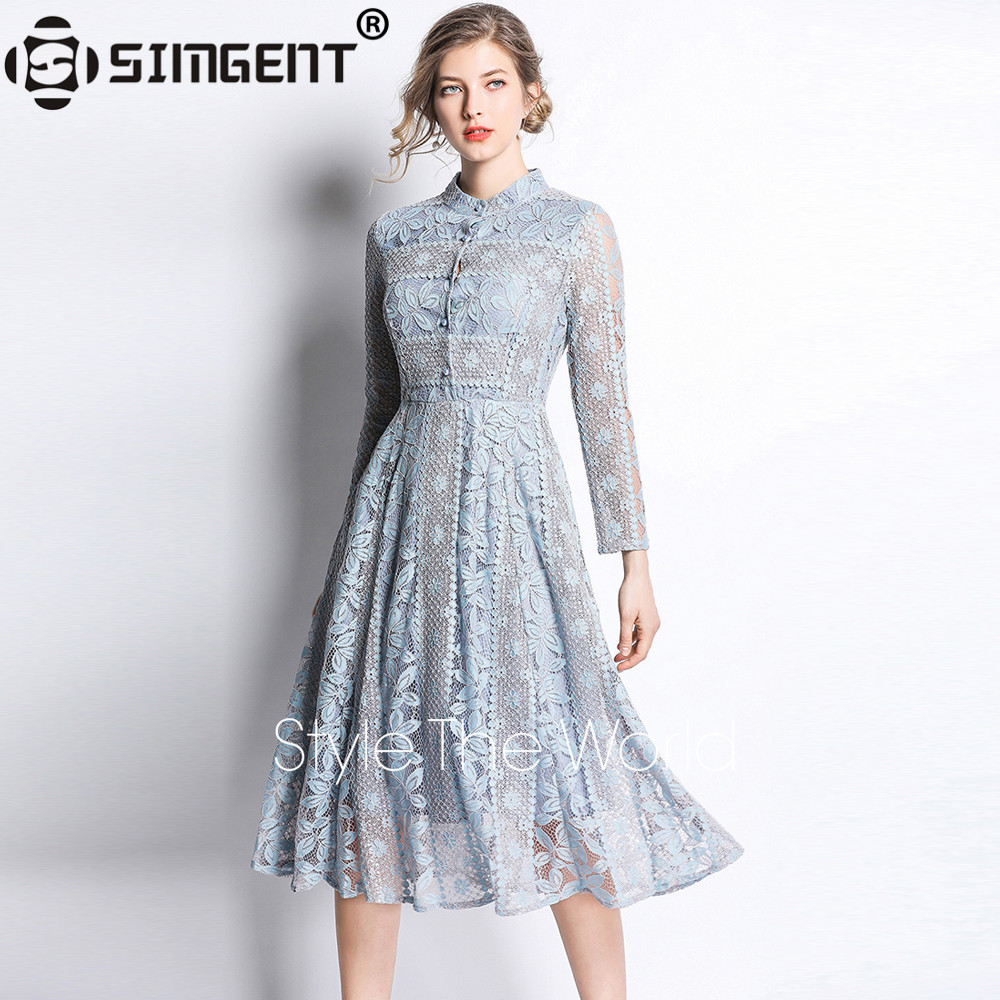 Simgent Spring Dress Womens Stand Collar Button Lace Hollow Out Long Sleeve Knee Length Dresses Blue Red 2019 Clothing SG9161