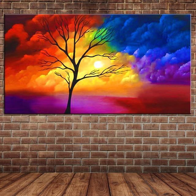 De Óleo Lona Al Arte Colores Abstracta Pintura La Moderna Nubes SqpUzVGM