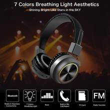7 Colors Breathing Light Bass Sound TF Card Over-ear Wireless Bluetooth Headset Breathing Light Bass Sound TF Card(China)