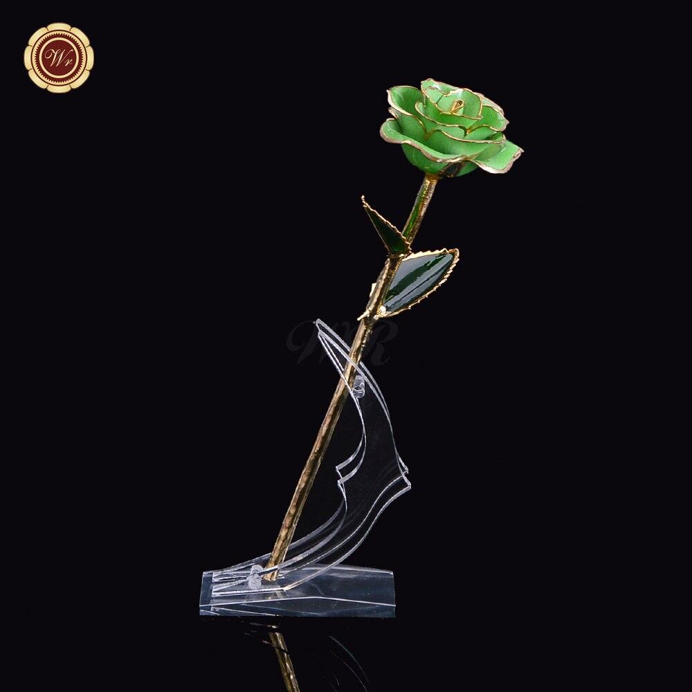 っ24 K Plaque Or Vert Rose Fleur Romantique Fleur Pour Jour De