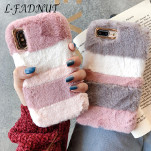 L-FADNUT Luxury Plush Fur Cover For Samsung Galaxy S10 S9 S8 Plus Cute Fluffy Soft Bumper Case Coque For Samsung S7 S6 edge A J