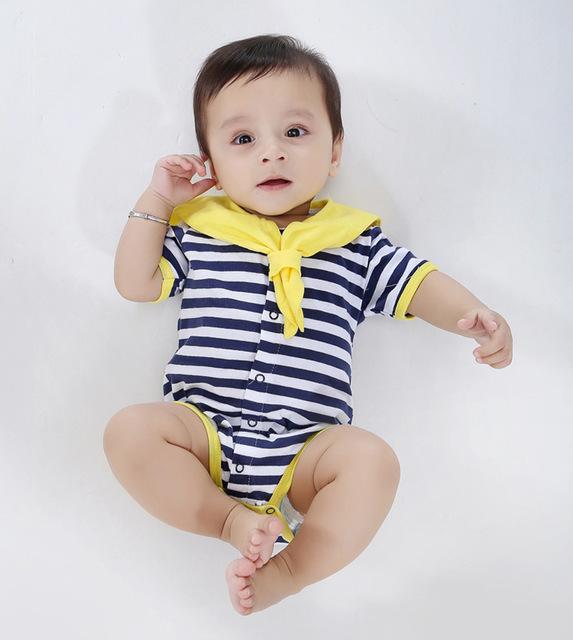 2015 Verão Conjunto de Roupas de Bebê Estilo Navy Bebê Recém-nascido Meninas meninos Marca Macacão 100% Algodão Romper Terno Do Corpo Do Bebê Dos Desenhos Animados roupas
