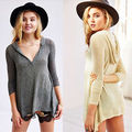 Women's Sexy Fashion Loose  Cotton V-Neck Tops Long Sleeve T-Shirt Casual Shirt With Hat Tee