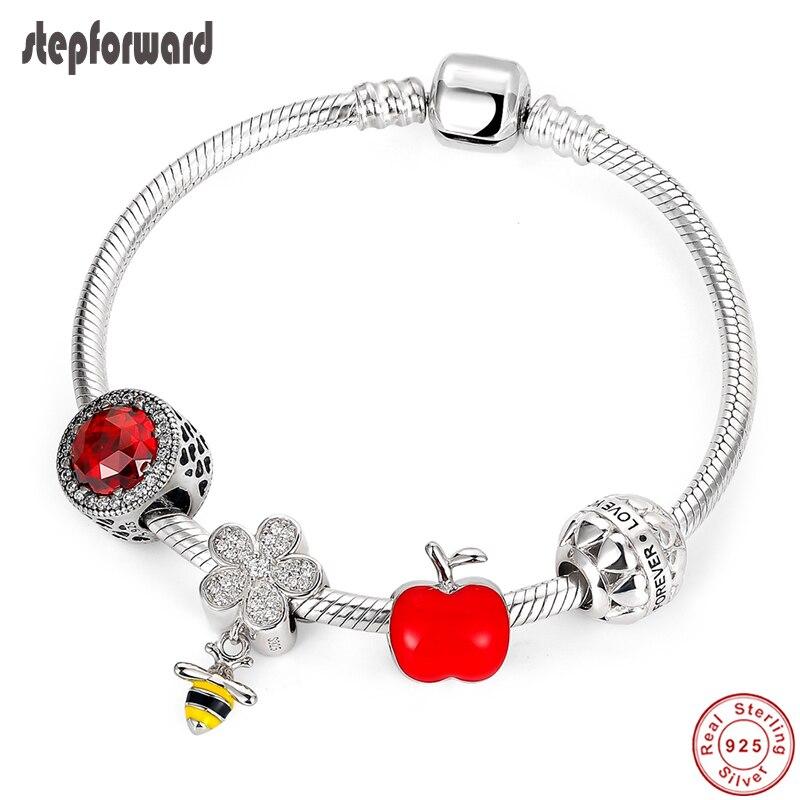 Étape en avant authentique 925 argent Sterling mignon abeille CZ pavé pendentif émail rouge bracelet à breloques et bracelet bijoux de mode WLB006