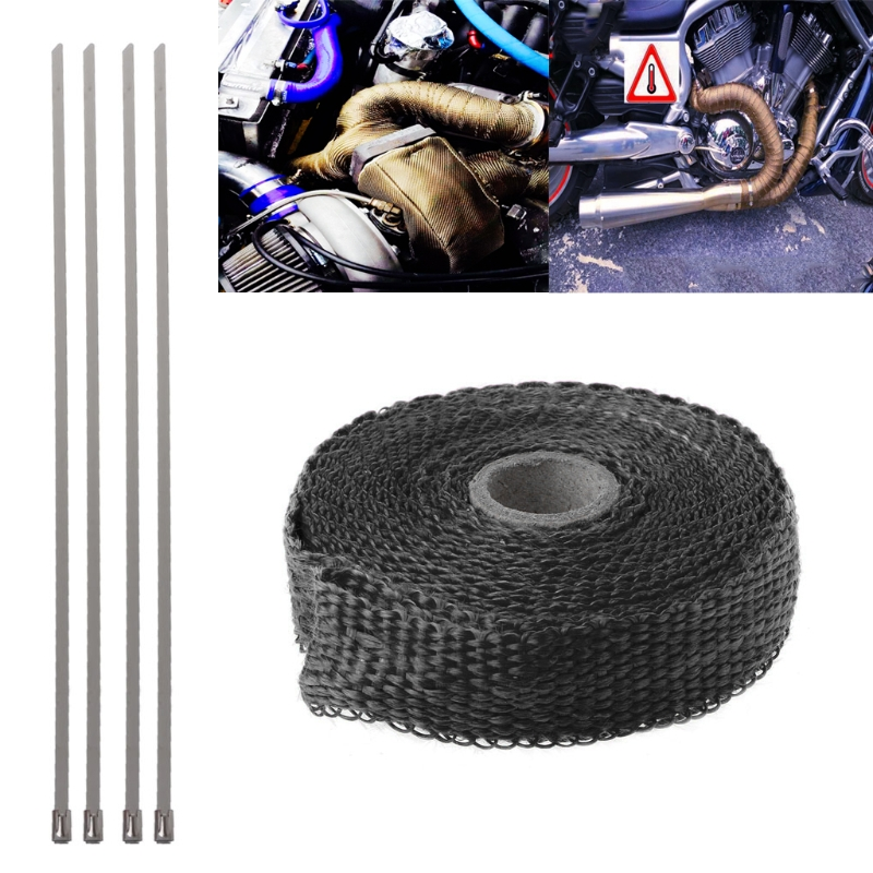 Car Motorcycle Incombustible Turbo Manifold Heat Exhaust Thermal Wrap Tape & Stainless Ties