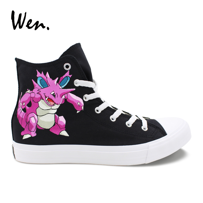 Wen Custom Anime Shoes Hand Painted Design Nidoking Pocket Monster Canvas Black Sneakers Men Women Pokemon Espadrilles Cartoon 2016 new cartoon anime figure despicable me 2 minion shoes couples hand painted canvas shoes women men casual shoes big size 10