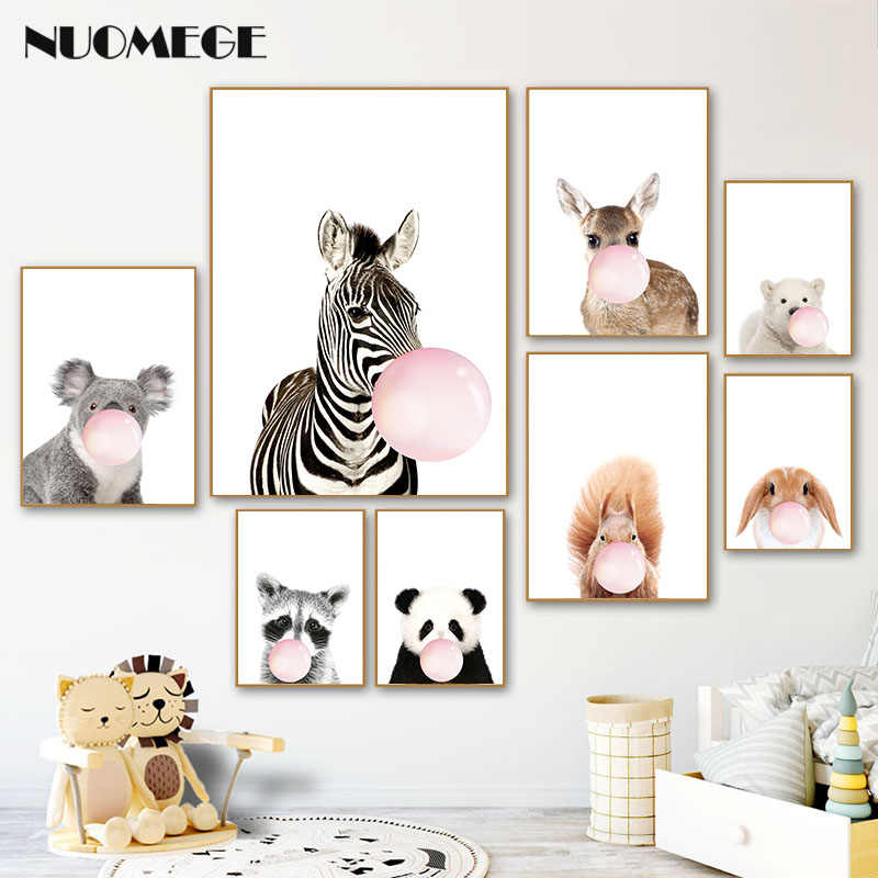 Panda Giraffe Elephant Baby Animal Posters for Kids Room Zebra Nursery Canvas Poster Animals Picture for Kids Room Wall Art