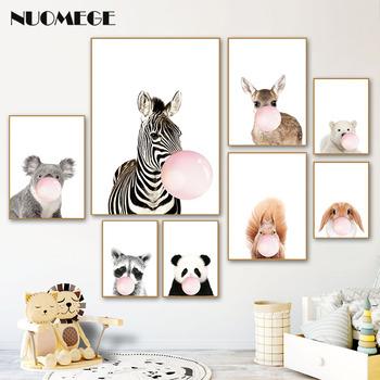 Panda żyrafa słoń dziecko plakaty ze zwierzętami dla dzieci pokój Zebra przedszkole plakat na płótnie zwierzęta obraz dla dzieci pokój Wall Art tanie i dobre opinie NUOMEGE Płótno wydruki Wodoodporny tusz Zwierząt Unframed Pojedyncze ZA06006 Malowanie natryskowe Pionowe Prostokąta