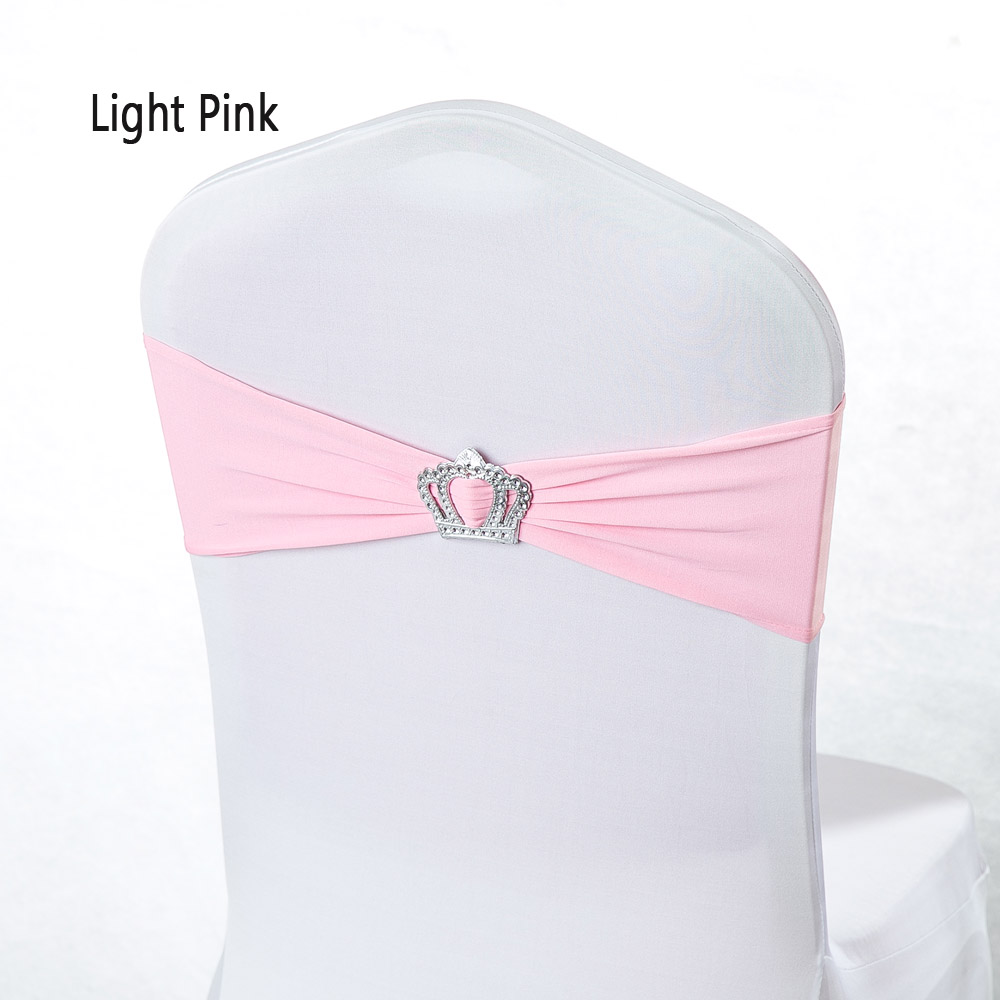 100pcs/lot Wedding Decoration Pink Stretch Lycra Crown Buckle Hotel Chair Band Baby Shower Baptism Party Favor pandex Chair Sash(China)