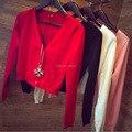 Бесплатная доставка 2017 Весной новые Женщины Корейских женщин сплошной цвет вязать кардиган Тонкий шерстяной пальто