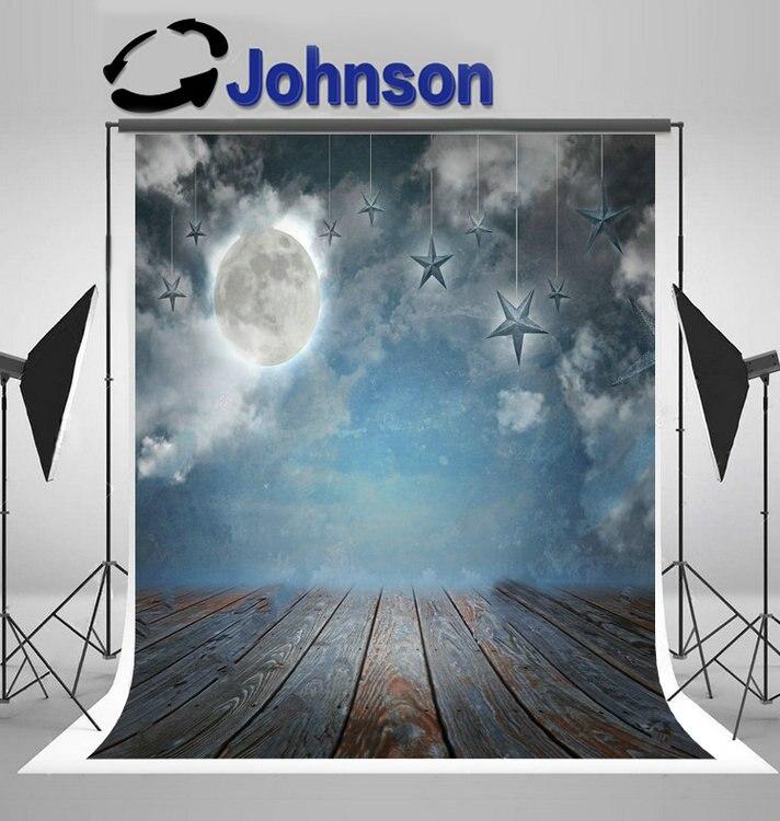 Полная луна звезды ночное небо дерева снизу облака Свадебные фон винил ткань высокого качества Компьютер печати вечерние фон