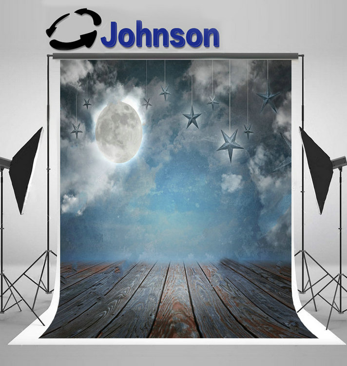 full moon stars night sky wood bottom clouds wedding backdrop Vinyl cloth High quality Computer print party background