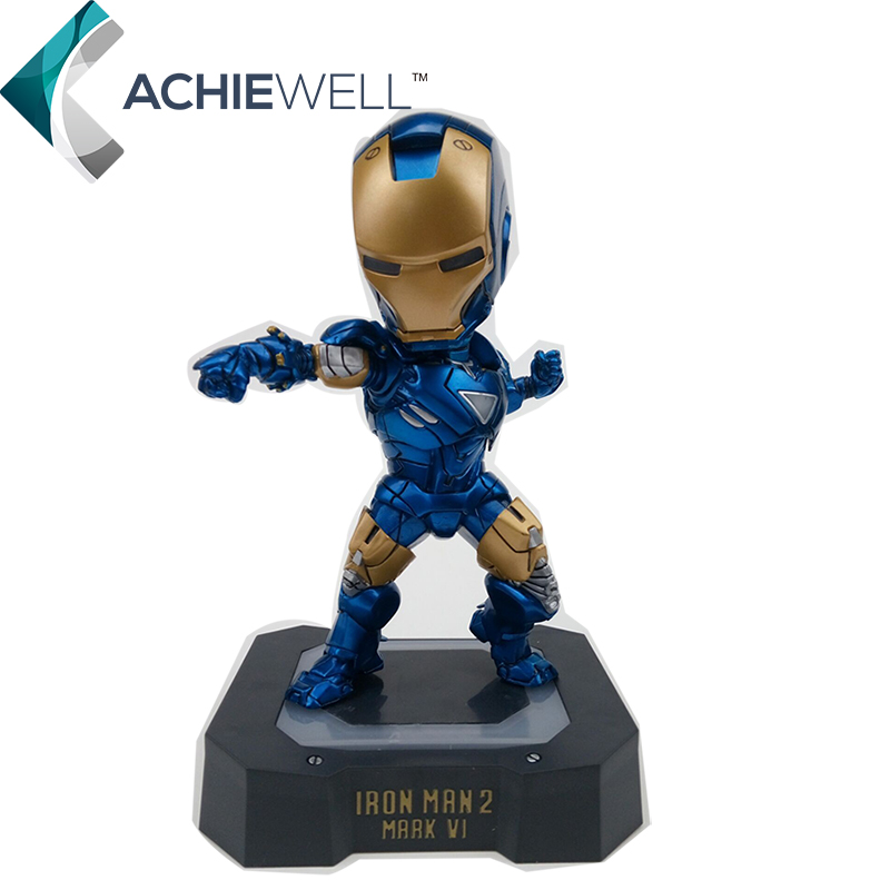 Marvel Egg Attack Iron Man Mark VI Blue Iron Man PVC Action Figure Collectible Toy with LED Light 7 18CM HRFG329 movie figure 18 cm egg attack iron man mark vi blue iron man with led light pvc action figure collectible toy model