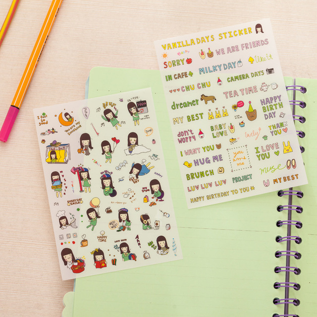 Hot selling 27666 stationery wholesale vanilla girls diary deco pet transparent sticker