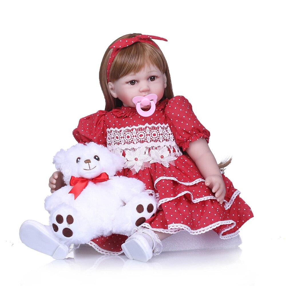 23 pouces Reborn nouveau-né bébé poupée vivant bebe 58 cm reborn menino Silicone rouge robe princesse jouer maison bebe jouets pour enfants